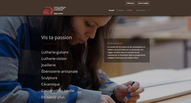 Print-screen site Web Pavillon des métiers d'art